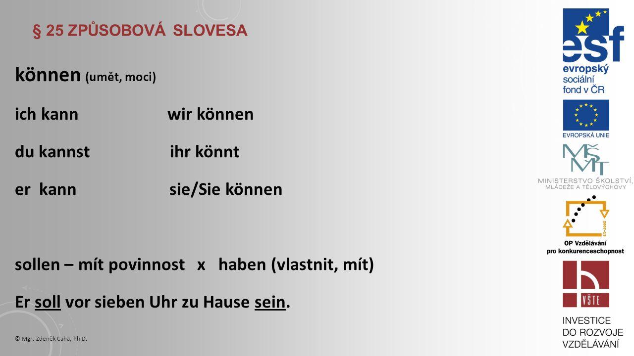 § 25 ZPŮSOBOVÁ SLOVESA A WISSEN sollen (mit povinnost) wollen (chtít) wissen (vědět) ich soll ich will ich weiß du sollst du willst du weißt er soll er will er weiß wir sollen wir wollen wir wissen ihr sollt ihr wollt ihr wisst sie/Sie sollen sie/Sie wollen sie/Sie wissen © Mgr.