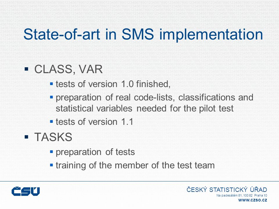 ČESKÝ STATISTICKÝ ÚŘAD Na padesátém 81, 100 82 Praha 10 www.czso.cz State-of-art in SMS implementation  CLASS, VAR  tests of version 1.0 finished,  preparation of real code-lists, classifications and statistical variables needed for the pilot test  tests of version 1.1  TASKS  preparation of tests  training of the member of the test team