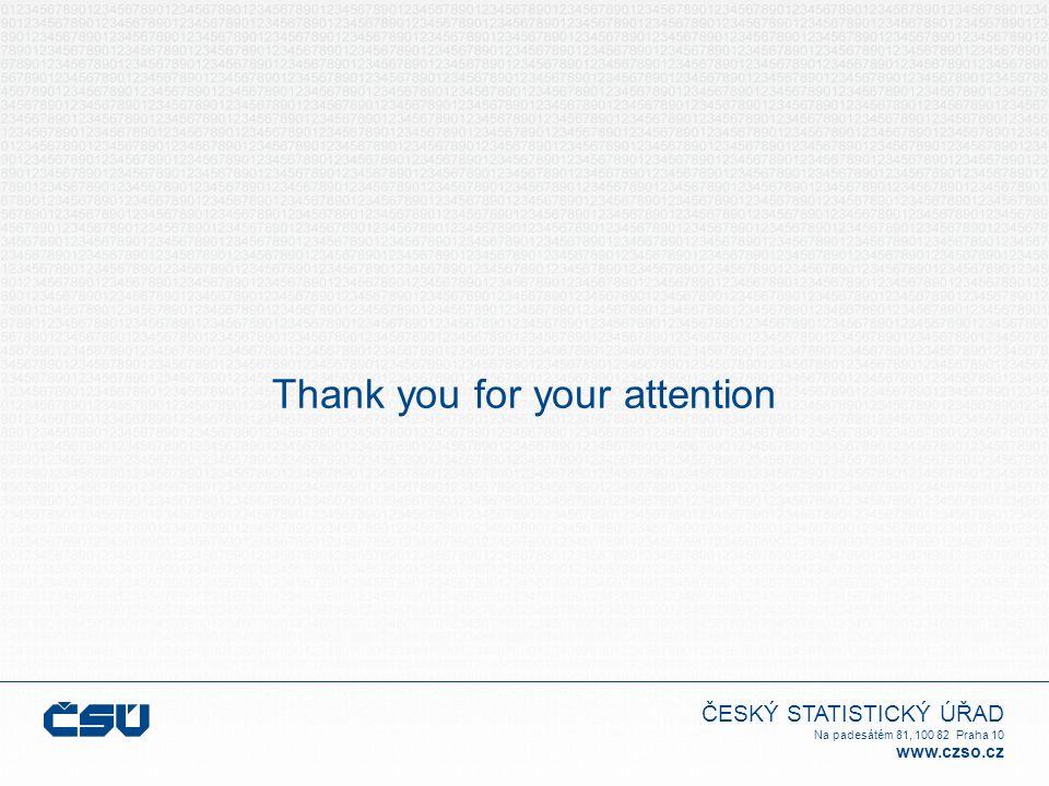 ČESKÝ STATISTICKÝ ÚŘAD Na padesátém 81, 100 82 Praha 10 www.czso.cz Thank you for your attention