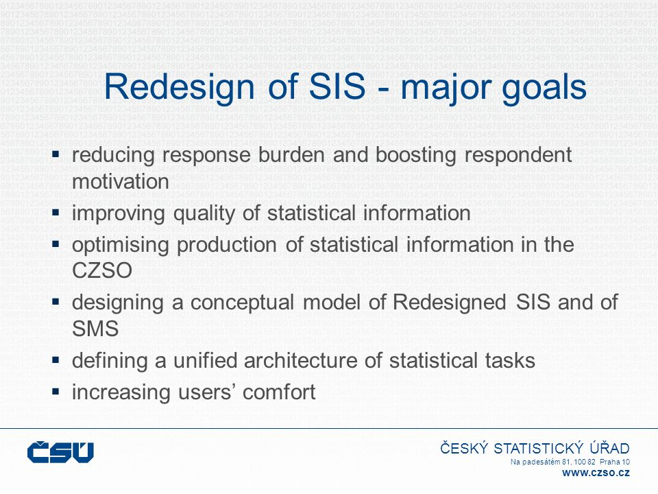 ČESKÝ STATISTICKÝ ÚŘAD Na padesátém 81, 100 82 Praha 10 www.czso.cz Redesign of SIS - core principles  systematic assessment and evaluation of statistical data requirements  increasing share of administrative data  increasing use of data modelling  implementation of SMS  implementation of statistical data warehouse  freeze of statistical surveys for 2-3 years  avoiding redundancy in statistical surveying