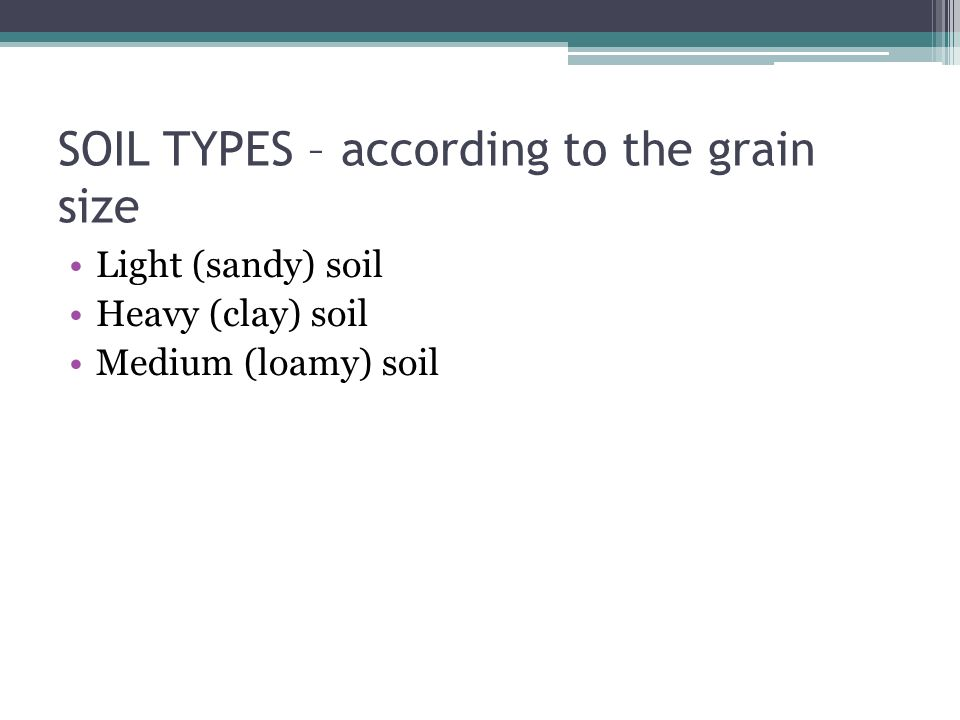 SOIL TYPES – according to the grain size Light (sandy) soil Heavy (clay) soil Medium (loamy) soil