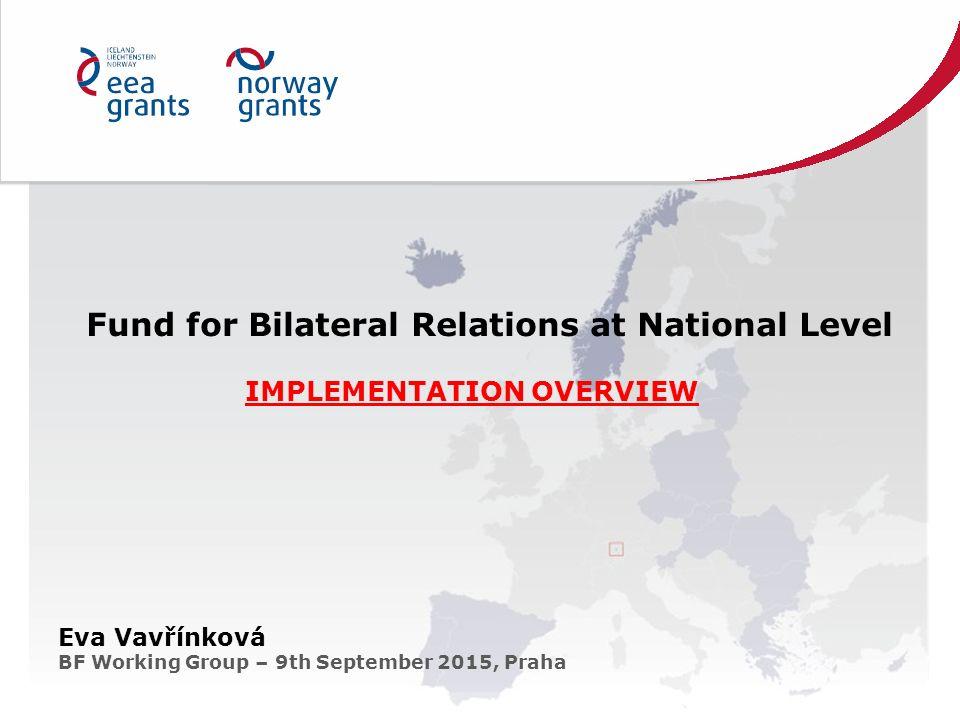 Fund for Bilateral Relations at National Level IMPLEMENTATION OVERVIEW Eva Vavřínková BF Working Group – 9th September 2015, Praha