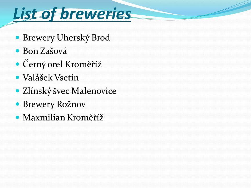 List of breweries Brewery Uherský Brod Bon Zašová Černý orel Kroměříž Valášek Vsetín Zlínský švec Malenovice Brewery Rožnov Maxmilian Kroměříž