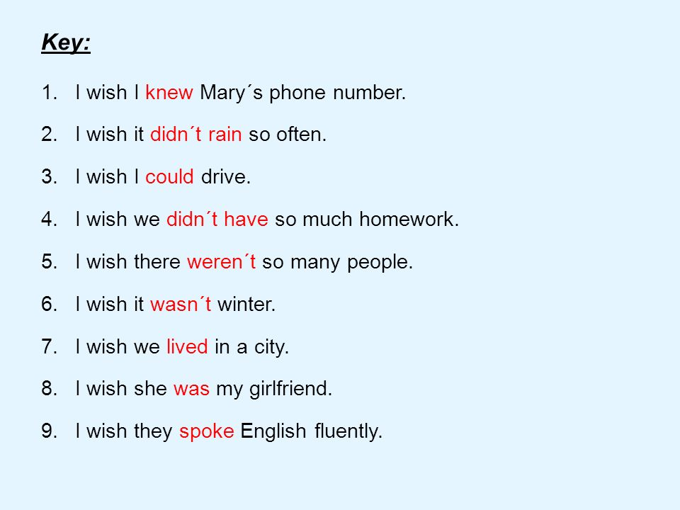 2.Complete the sentences with I wish.