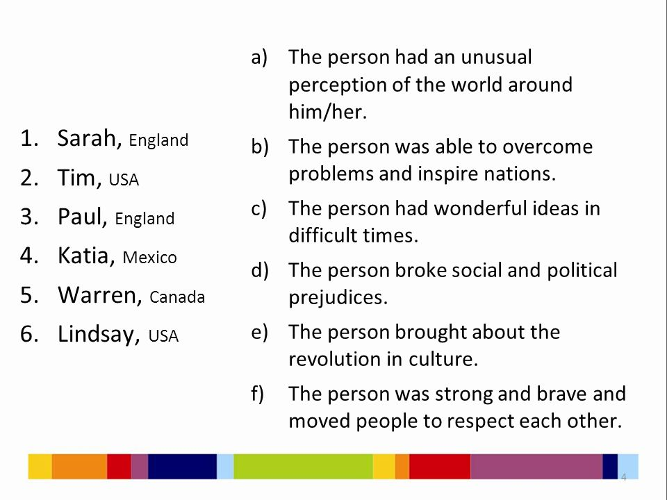 1.Sarah, England 2.Tim, USA 3.Paul, England 4.Katia, Mexico 5.Warren, Canada 6.Lindsay, USA a)The person had an unusual perception of the world around him/her.