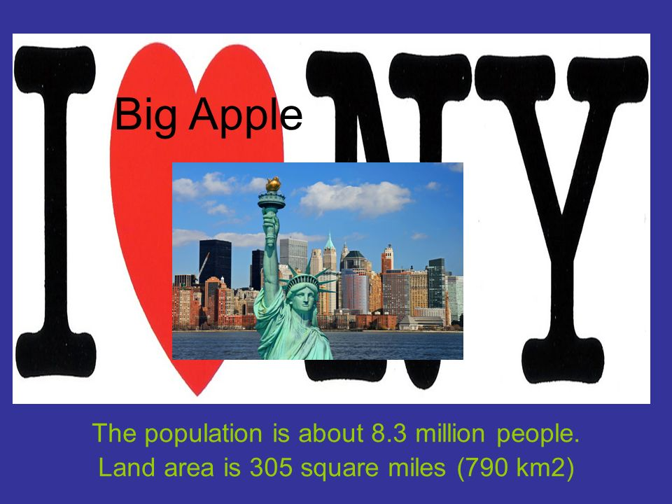 The population is about 8.3 million people. Land area is 305 square miles (790 km2) Big Apple