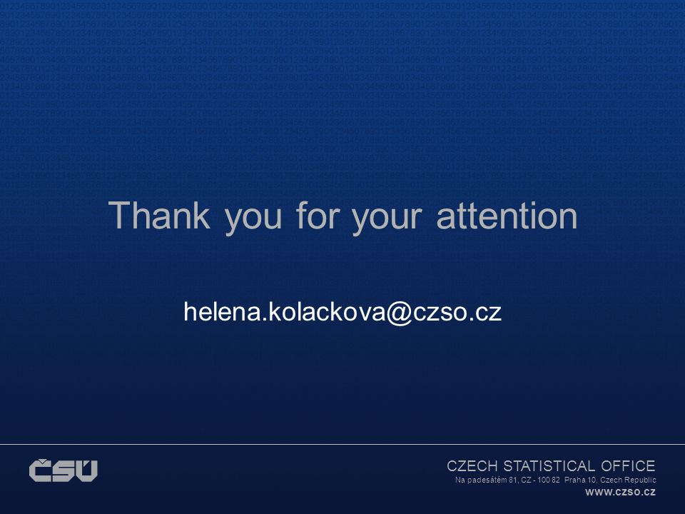 CZECH STATISTICAL OFFICE Na padesátém 81, CZ - 100 82 Praha 10, Czech Republic www.czso.cz Thank you for your attention helena.kolackova@czso.cz