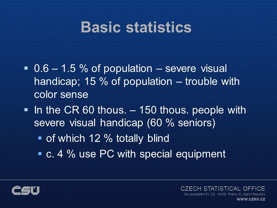 CZECH STATISTICAL OFFICE Na padesátém 81, CZ - 100 82 Praha 10, Czech Republic www.czso.cz Basic statistics  0.6 – 1.5 % of population – severe visual handicap; 15 % of population – trouble with color sense  In the CR 60 thous.