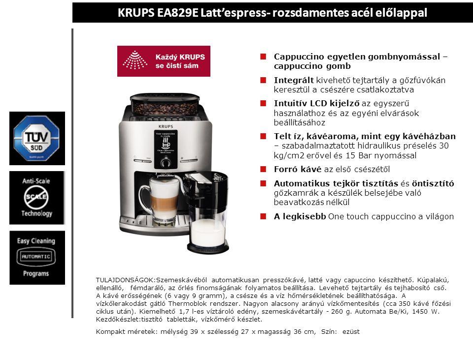 KRUPS EA829E Latt'espress- rozsdamentes acél előlappal Cappuccino egyetlen gombnyomással – cappuccino gomb Integrált kivehető tejtartály a gőzfúvókán