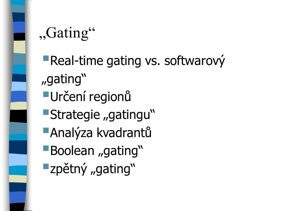 """""""Gating""""  Real-time gating vs. softwarový """"gating""""  Určení regionů  Strategie """"gatingu""""  Analýza kvadrantů  Boolean """"gating""""  zpětný """"gating"""""""