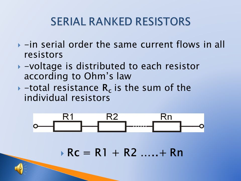 Serial and parallel connection of resistors Resistors may be connected (or arranged): - serial (in a row) - parallel (beside each other).