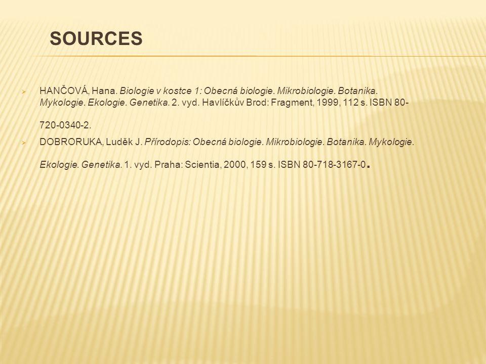  HANČOVÁ, Hana. Biologie v kostce 1: Obecná biologie.
