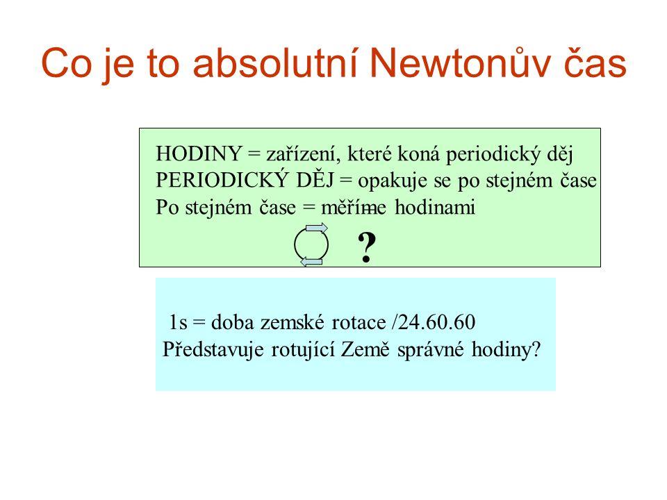 _ Co je to absolutní Newtonův čas 1s = doba zemské rotace /24.60.60 Představuje rotující Země správné hodiny? HODINY = zařízení, které koná periodický