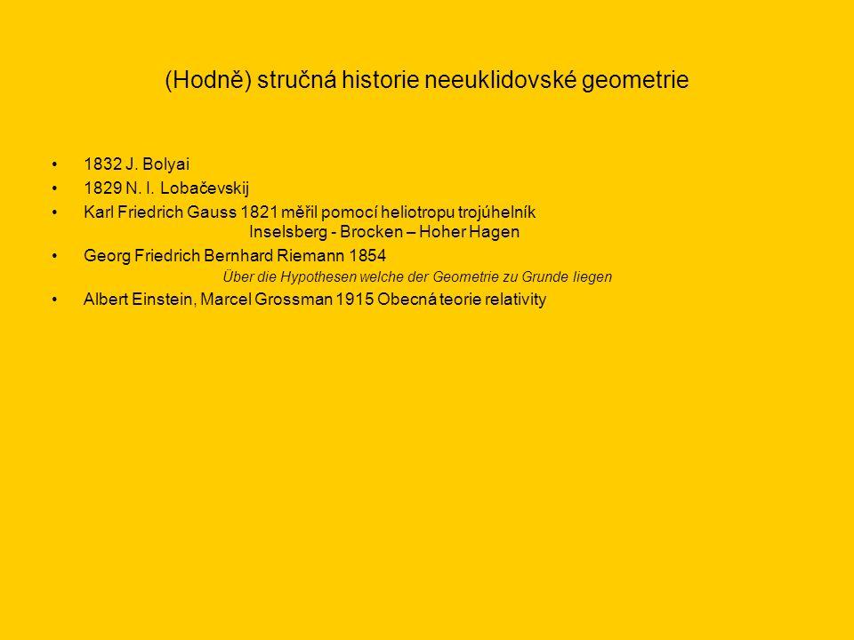 (Hodně) stručná historie neeuklidovské geometrie 1832 J. Bolyai 1829 N. I. Lobačevskij Karl Friedrich Gauss 1821 měřil pomocí heliotropu trojúhelník I