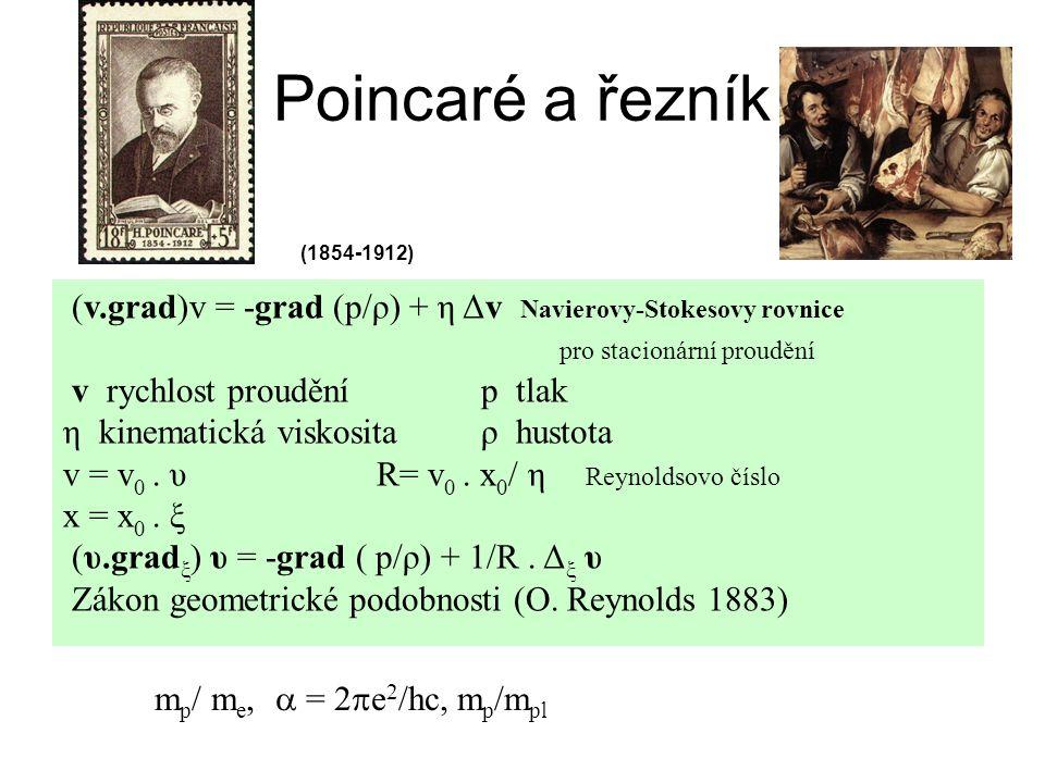 Poincaré a řezník (v.grad)v = -grad (p/ρ) + η Δv Navierovy-Stokesovy rovnice pro stacionární proudění v rychlost prouděníp tlak η kinematická viskosit