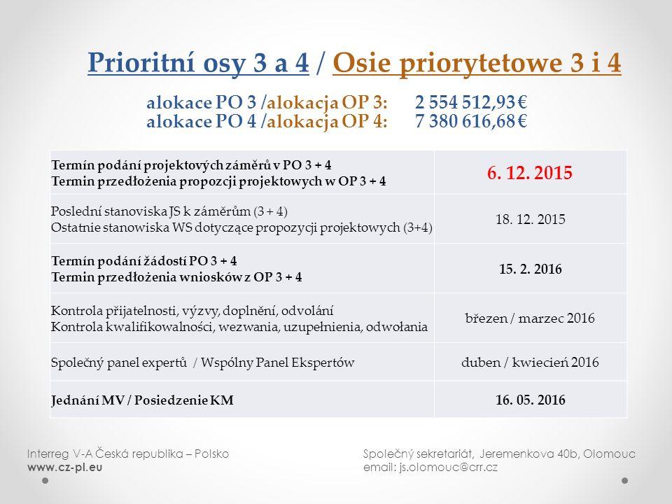 Prioritní osy 3 a 4 / Osie priorytetowe 3 i 4 alokace PO 3 /alokacja OP 3: 2 554 512,93 € alokace PO 4 /alokacja OP 4: 7 380 616,68 € Termín podání projektových záměrů v PO 3 + 4 Termin przedłożenia propozcji projektowych w OP 3 + 4 6.