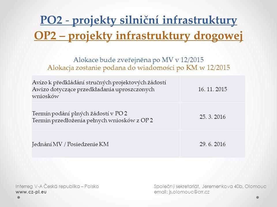 PO2 - projekty silniční infrastruktury OP2 – projekty infrastruktury drogowej Alokace bude zveřejněna po MV v 12/2015 Alokacja zostanie podana do wiadomości po KM w 12/2015 Interreg V-A Česká republika – PolskoSpolečný sekretariát, Jeremenkova 40b, Olomouc www.cz-pl.eu email: js.olomouc@crr.cz Avízo k předkládání stručných projektových žádostí Awizo dotyczące przedkładania uproszczonych wniosków 16.