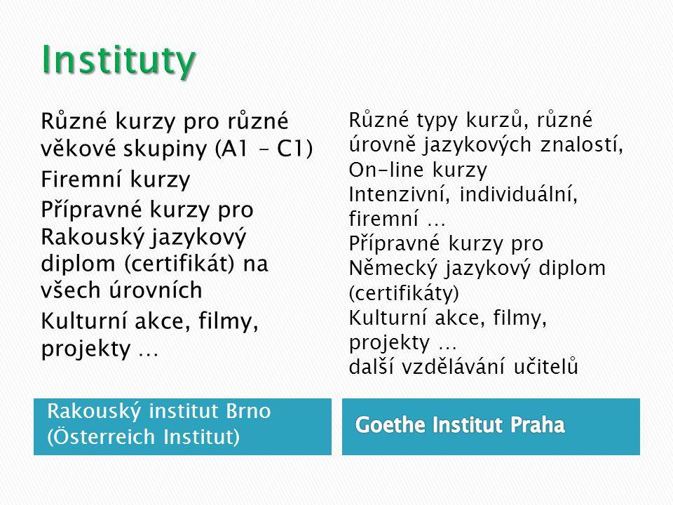 Různé kurzy pro různé věkové skupiny (A1 – C1) Firemní kurzy Přípravné kurzy pro Rakouský jazykový diplom (certifikát) na všech úrovních Kulturní akce, filmy, projekty … Různé typy kurzů, různé úrovně jazykových znalostí, On-line kurzy Intenzivní, individuální, firemní … Přípravné kurzy pro Německý jazykový diplom (certifikáty) Kulturní akce, filmy, projekty … další vzdělávání učitelů Rakouský institut Brno (Österreich Institut)