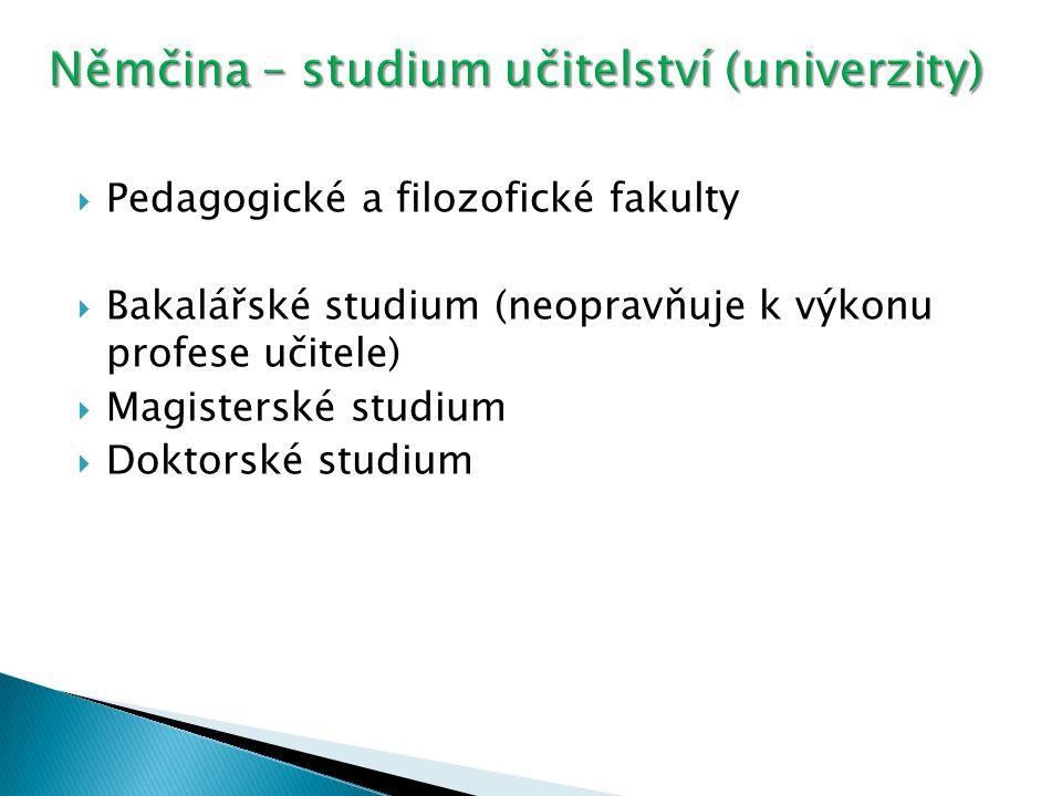  Pedagogické a filozofické fakulty  Bakalářské studium (neopravňuje k výkonu profese učitele)  Magisterské studium  Doktorské studium