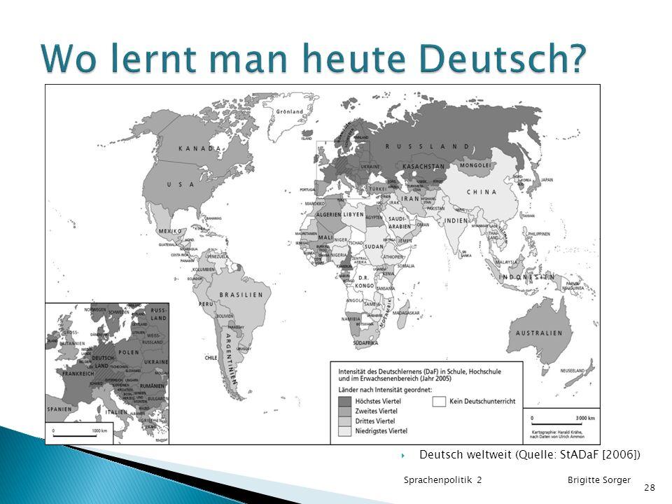  Deutsch weltweit (Quelle: StADaF [2006]) Sprachenpolitik 2 Brigitte Sorger 28