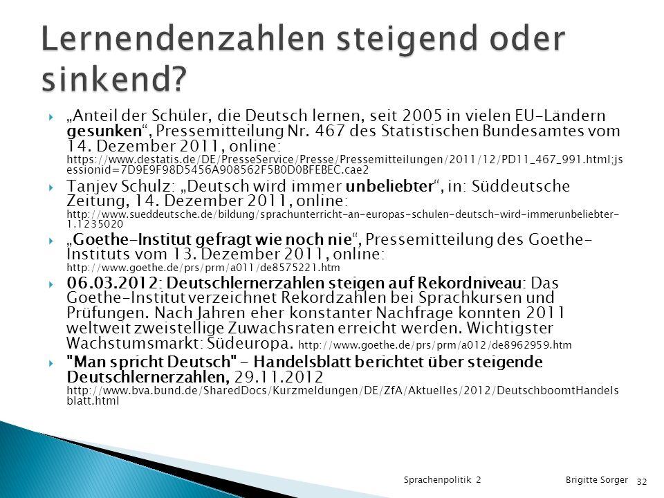""" """"Anteil der Schüler, die Deutsch lernen, seit 2005 in vielen EU-Ländern gesunken , Pressemitteilung Nr."""