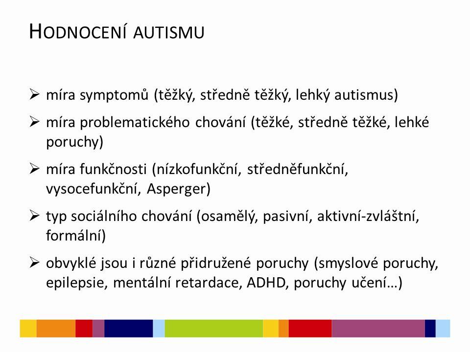 H ODNOCENÍ AUTISMU  míra symptomů (těžký, středně těžký, lehký autismus)  míra problematického chování (těžké, středně těžké, lehké poruchy)  míra