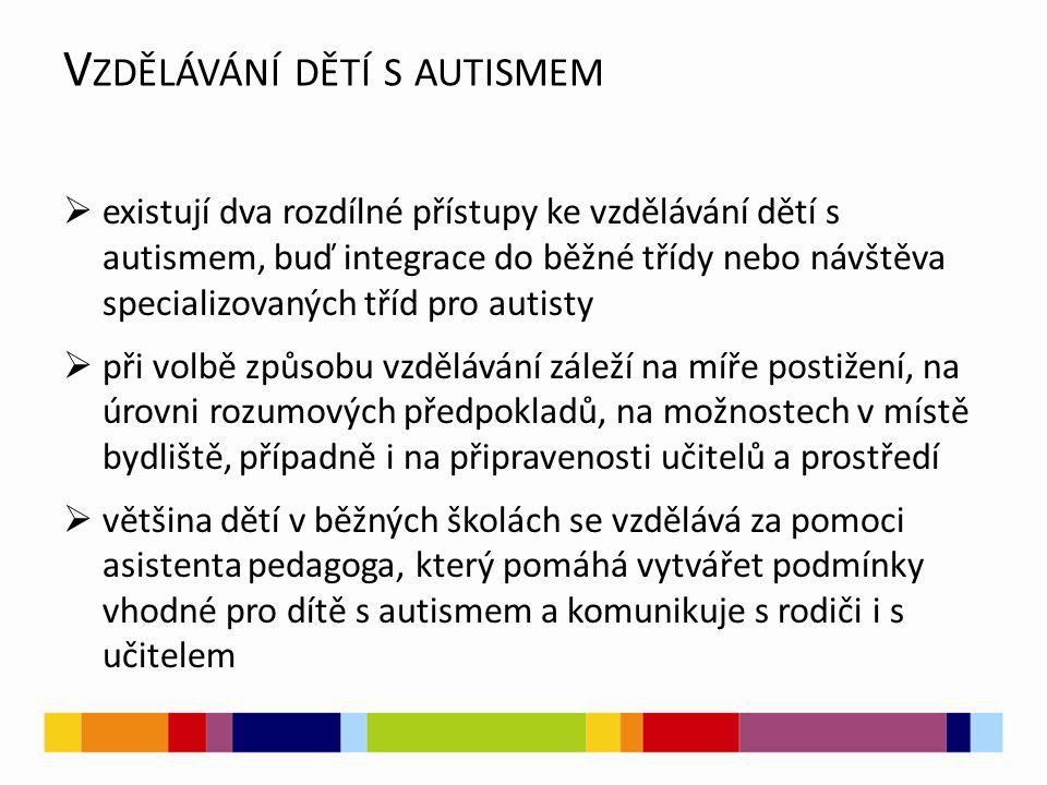 V ZDĚLÁVÁNÍ DĚTÍ S AUTISMEM  existují dva rozdílné přístupy ke vzdělávání dětí s autismem, buď integrace do běžné třídy nebo návštěva specializovanýc