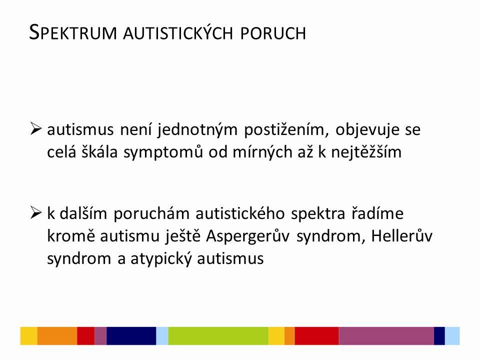 S PEKTRUM AUTISTICKÝCH PORUCH  autismus není jednotným postižením, objevuje se celá škála symptomů od mírných až k nejtěžším  k dalším poruchám auti