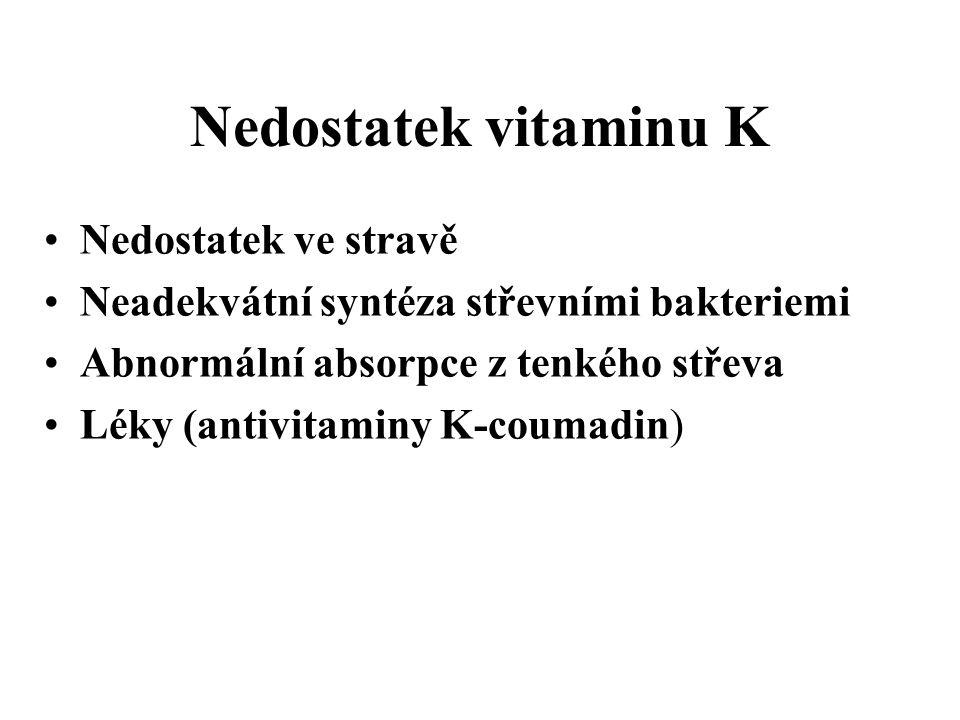 Nedostatek vitaminu K Nedostatek ve stravě Neadekvátní syntéza střevními bakteriemi Abnormální absorpce z tenkého střeva Léky (antivitaminy K-coumadin