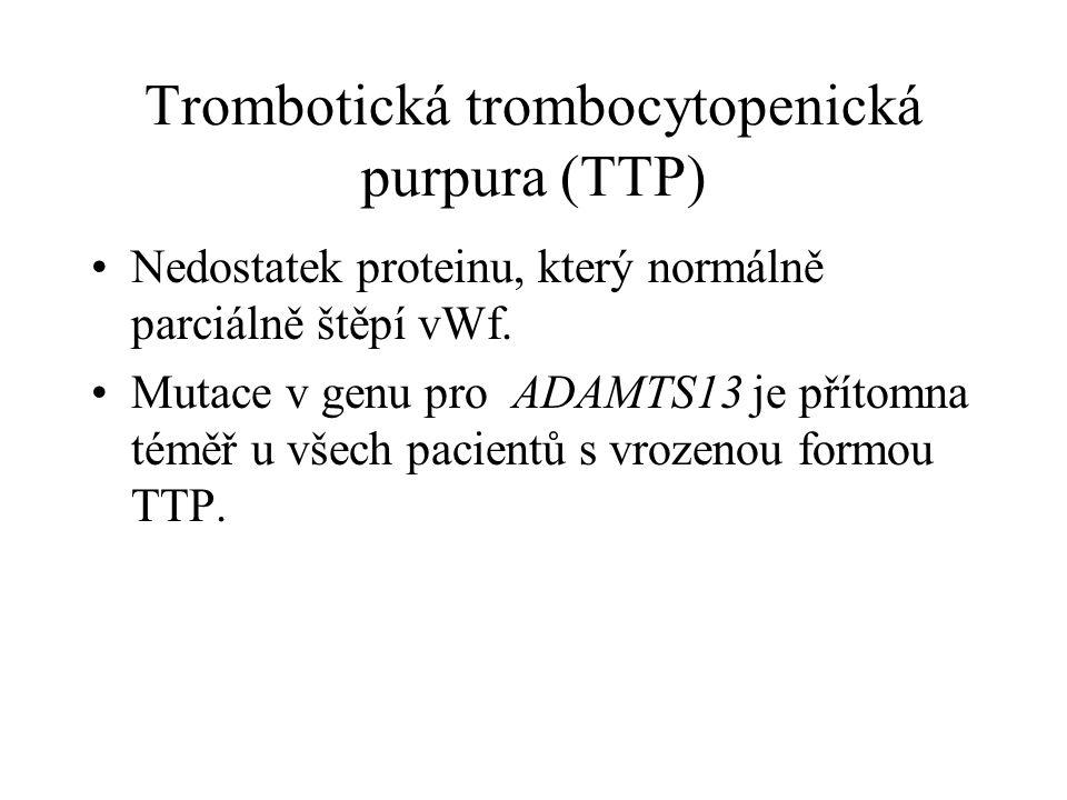 Trombotická trombocytopenická purpura (TTP) Nedostatek proteinu, který normálně parciálně štěpí vWf. Mutace v genu pro ADAMTS13 je přítomna téměř u vš