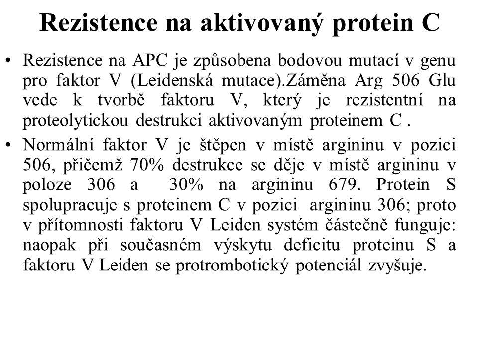 Rezistence na aktivovaný protein C Rezistence na APC je způsobena bodovou mutací v genu pro faktor V (Leidenská mutace).Záměna Arg 506 Glu vede k tvor