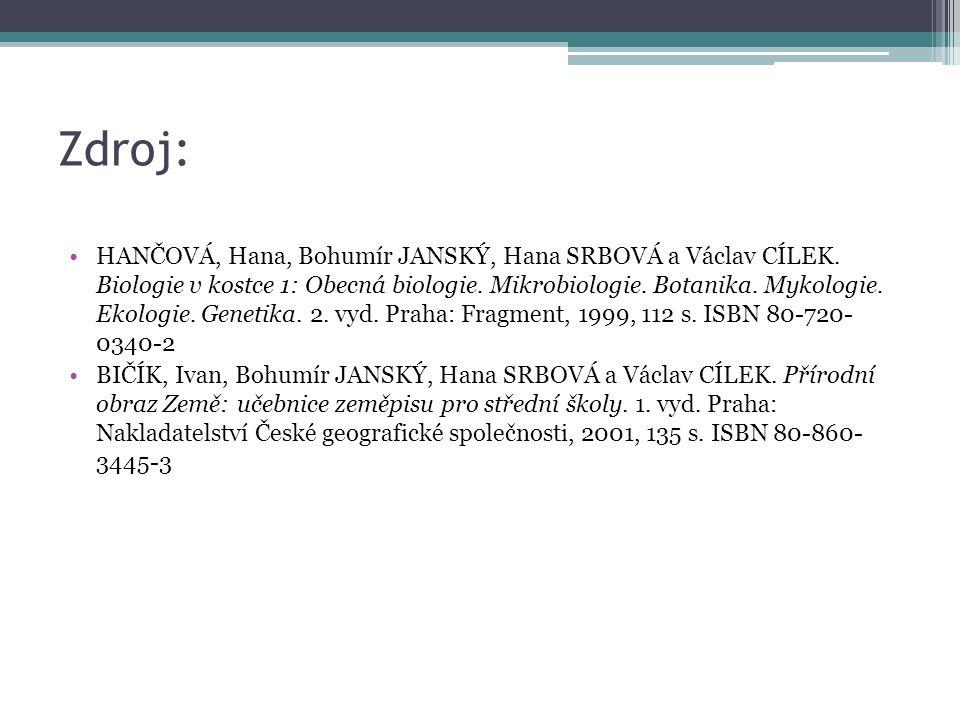 Zdroj: HANČOVÁ, Hana, Bohumír JANSKÝ, Hana SRBOVÁ a Václav CÍLEK.