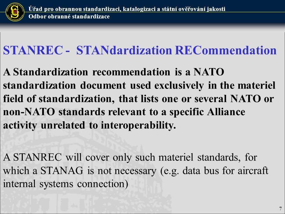 Úřad pro obrannou standardizaci, katalogizaci a státní ověřování jakosti Odbor obranné standardizace 8 Example of promulgated STANREC: A title page of STANREC 4174 Ed.4, covering ADMP-01(A),ADMP-2(A), IEC 60050-191 Ed.