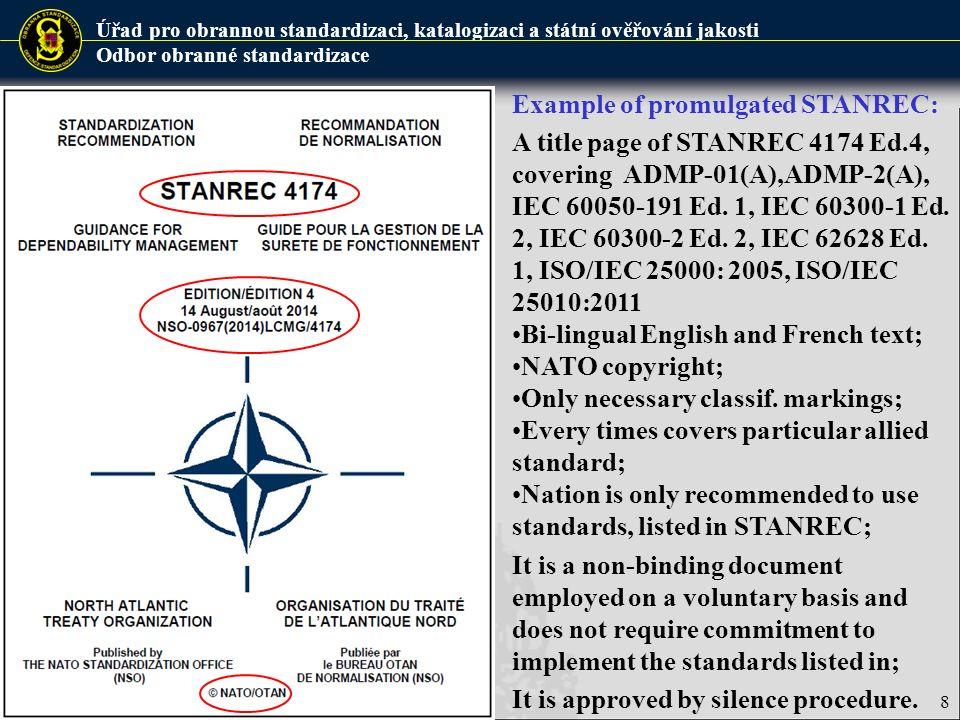 Úřad pro obrannou standardizaci, katalogizaci a státní ověřování jakosti Odbor obranné standardizace 9 Allied Standards are standards developed or selected in the framework of the NATO standardization process.