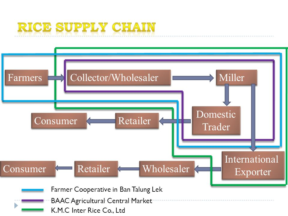 Farmers Collector/Wholesaler Miller International Exporter International Exporter Domestic Trader Retailer Consumer Wholesaler Retailer Consumer Farmer Cooperative in Ban Talung Lek BAAC Agricultural Central Market K.M.C Inter Rice Co., Ltd