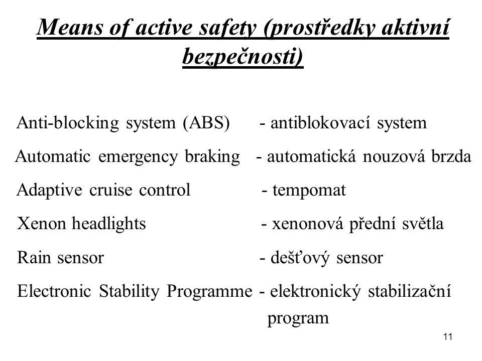 Means of active safety (prostředky aktivní bezpečnosti) Anti-blocking system (ABS) - antiblokovací system Automatic emergency braking - automatická no