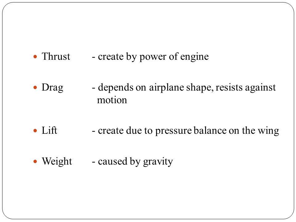 Airliner - dopravní letadlo Act - působit Aircraft- letadlo Airplane - letoun Drag- odpor Lift - vztlak Thrust - tah Weight - tíha Aileron- křidélko Elevator - vyškové kormidlo Rudder - směrové kormidlo Fin - kýlová plocha Vertical stabilizer - Svislá stabilizační plocha Horizontal stabilizer - Vodorovná stabilizační plocha Fuselage - trup Bomber - bombardovací letoun Fighter - stíhací letoun Trainer - cvičný letoun Porthole - okénko Baggage compartement - zavazadlový prostor Cargo compartment - nákladový prostor Spar - nosník