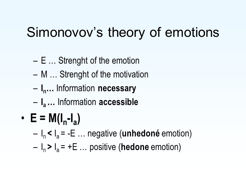 Simonovov's theory of emotions –E … Strenght of the emotion –M … Strenght of the motivation – I n … Information necessary – I a … Information accessib