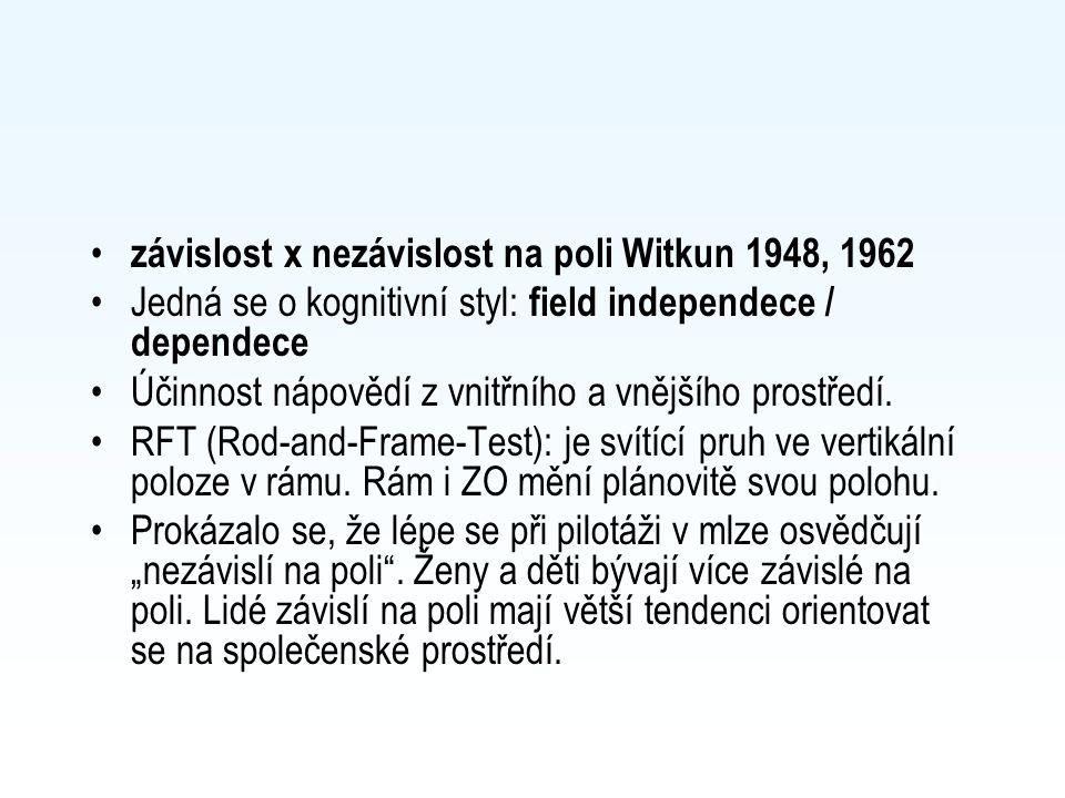 závislost x nezávislost na poli Witkun 1948, 1962 Jedná se o kognitivní styl: field independece / dependece Účinnost nápovědí z vnitřního a vnějšího p