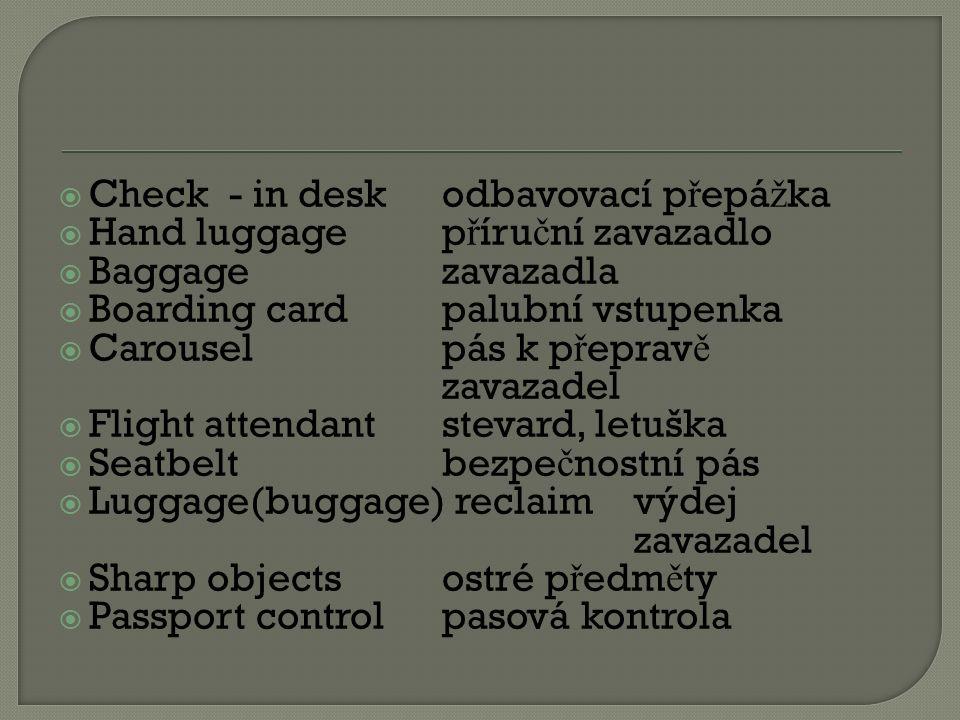  Check - in deskodbavovací p ř epá ž ka  Hand luggagep ř íru č ní zavazadlo  Baggagezavazadla  Boarding cardpalubní vstupenka  Carouselpás k p ř