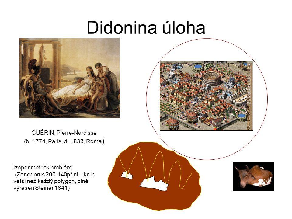 Didonina úloha GUÉRIN, Pierre-Narcisse (b. 1774, Paris, d. 1833, Roma ) Izoperimetrick problém (Zenodorus 200-140př.nl.– kruh větší než každý polygon,