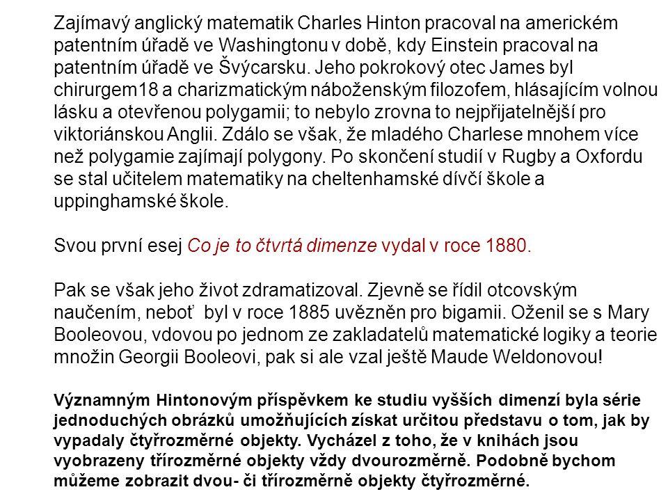 Zajímavý anglický matematik Charles Hinton pracoval na americkém patentním úřadě ve Washingtonu v době, kdy Einstein pracoval na patentním úřadě ve Šv