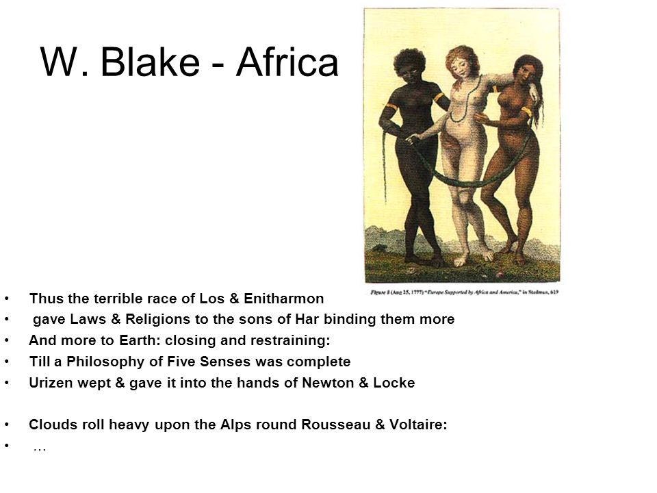 W. Blake - Africa Thus the terrible race of Los & Enitharmon gave Laws & Religions to the sons of Har binding them more And more to Earth: closing and