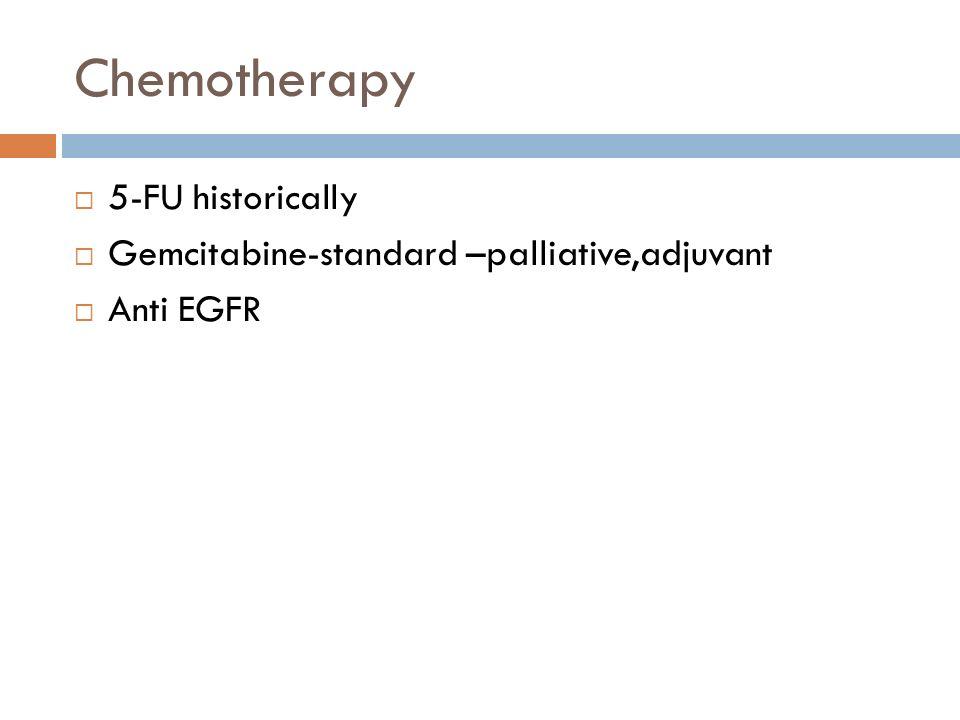 Chemotherapy  5-FU historically  Gemcitabine-standard –palliative,adjuvant  Anti EGFR