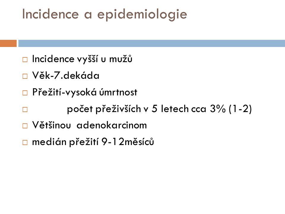 Incidence a epidemiologie  Incidence vyšší u mužů  Věk-7.dekáda  Přežití-vysoká úmrtnost  počet přeživších v 5 letech cca 3% (1-2)  Většinou aden