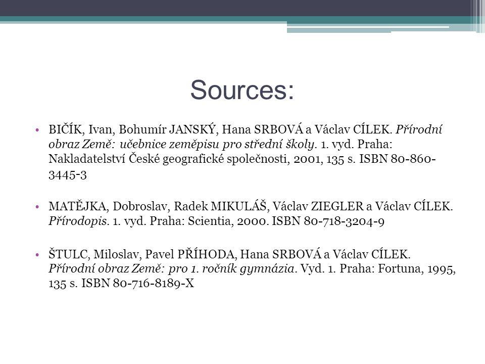 Sources: BIČÍK, Ivan, Bohumír JANSKÝ, Hana SRBOVÁ a Václav CÍLEK.