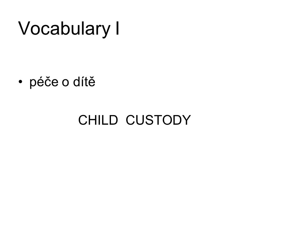 Vocabulary I péče o dítě CHILD CUSTODY