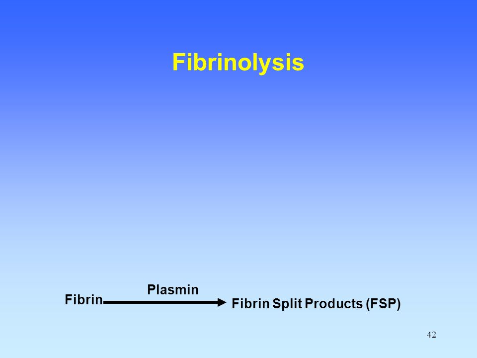 42 Fibrin Fibrin Split Products (FSP) Plasmin Fibrinolysis
