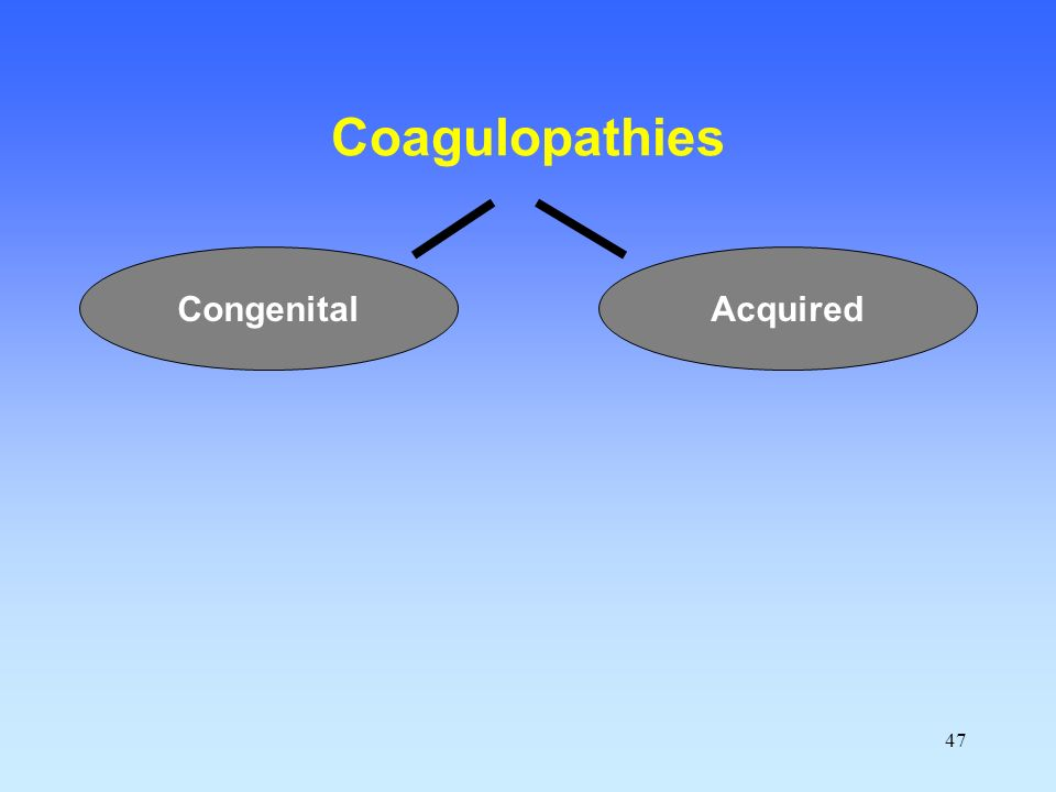 47 Coagulopathies AcquiredCongenital