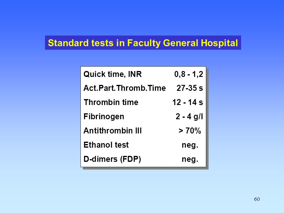 60 Quick time, INR0,8 - 1,2 Act.Part.Thromb.Time 27-35 s Thrombin time12 - 14 s Fibrinogen2 - 4 g/l Antithrombin III> 70% Ethanol testneg.